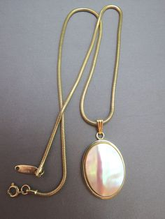 VTG Whiting Davis MOP Pendant Necklace Gold Plated Snake Chain Oval Stone Unique #WhitingandDavis #Pendant