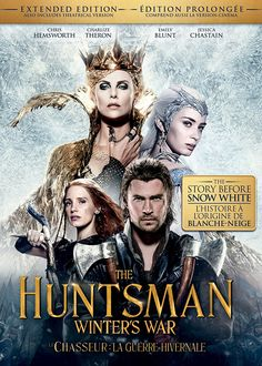 The Huntsman: Winter's War (2016) ... Betrayed by her evil sister Ravenna (Charlize Theron), heartbroken Freya (Emily Blunt) retreats to a northern kingdom to raise an army of huntsmen as her protectors. Gifted with the ability to freeze her enemies in ice, Freya teaches her young soldiers to never fall in love. When Eric (Chris Hemsworth) and fellow warrior Sara defy this rule, the angry queen does whatever she can to stop them. (22-Oct-2016)