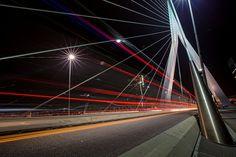 Light Trails on the Erasmusbrug Rotterdam (Photo credit to Tom Roeleveld) x R Wallpaper, Heaven Wallpaper, Magical Images, Light Trails, Digital Photography School, Photography Challenge, Rotterdam, Photo Credit, Shots
