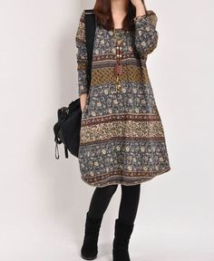 Blue Floral Print  dress cotton dress long sleeve dress linen dress casual loose dress cotton shirt large size cotton blouse plus size dress
