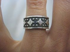 Vintage 1960s Mexican Wide Band Ring Sterling Silver by Glamaroni, $38.00