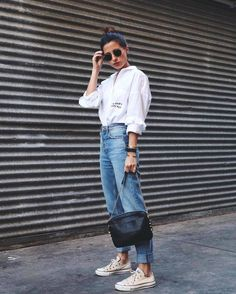 Love this outfit! Jeans Boyfriend, Mom Jeans, Street Outfit, Street Wear, All Star, Style Casual, My Style, Fashion Killa, Fashion Trends