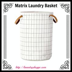 Matrix Organic Laundry Basket. Chic and Clean Grid Pattern in Black White. All Organic Fabric.