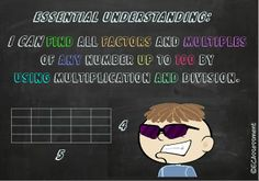 $5.99 Great Product to use area models/multiplication to find factors and multiples!!!! Less Procedures/More Critical Thinking!!! This Product contains a PowerPoint Math Lesson (Chalkboard Theme). This lesson concentrates on Common Core Standard 4.OA.3: (I Can Statement: I CAN find all factors and multiples of any number up to 100 by using multiplication and division). It is designed to enhance conceptual development, critical thinking, and problem solving skills.