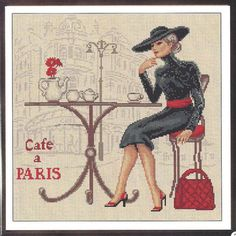 Lady in Paris Cross Stitch Pattern, xstitch pdf Cafe de Paris cross stitch pdf pattern, modern pdf pattern, counted cross stitch pattern Counted Cross Stitch Patterns, Cross Stitch Embroidery, Wedding Pattern, Coming Out, Golden Age Of Hollywood, Le Point, Filet Crochet, Bargello, Cross Stitching