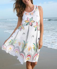 Look what I found on #zulily! White Floral Sleeveless Dress - Plus #zulilyfinds
