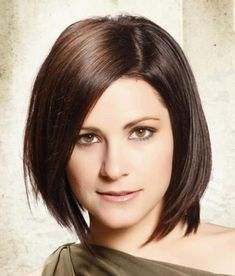 Nice with short chocolate brown hair