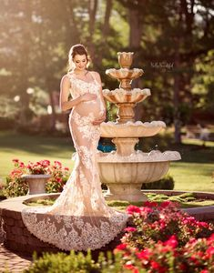 852010e523c Francine Gown • Couture Sheer Nude Flower Gown • Sheer Maternity Gown •  Nude Gown •
