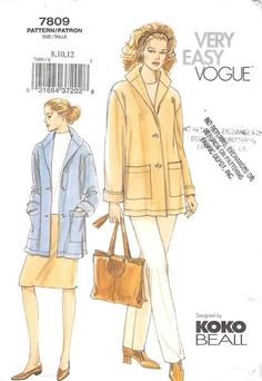 VOGUE 7809 - FROM 2003 - UNCUT - MISSES JACKET, SKIRT & PANTS