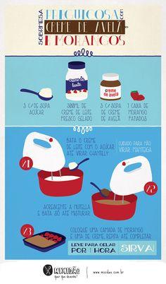 receita infográfico de sobremesa de morango com nutella