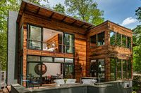 By FORMWORK Architecture_ Tucked away in a rural forested setting, this Virginia… Lakefront Property, Virginia Homes, Rich Colors, Gazebo, Language, Outdoor Structures, Organic, Cabin, Architecture