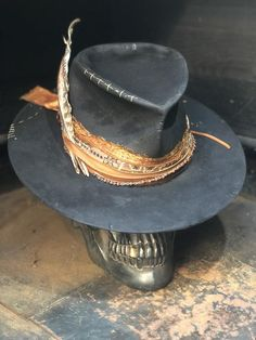 Custom Cowboy Hats, Cowgirl Hats, Custom Hats, Bohemian Style Men, Leather Top Hat, Beaded Hat Bands, Boho Hat, Masculine Style, Stylish Mens Outfits