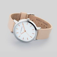 Polished Steel Watch with Rose Gold Indexing by The Horse.