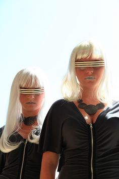 Two Futuristic Sci-Fi Girls Wearing Black With Space Age Sunglasses Looking at Camera Unedited by Pink Sherbet Photography, via Flickr