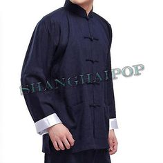 Chinese kung fu suit wing chun #martial art #jacket tai chi #uniform black/blue m,  View more on the LINK: http://www.zeppy.io/product/gb/2/221111841792/