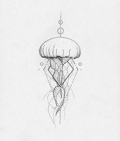 Jellyfish Geometric Tattoo Concept