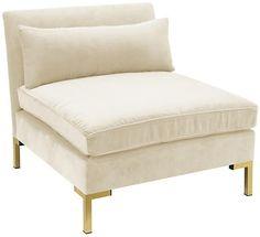 One Kings Lane Marceau Slipper Chair - Cream Velvet