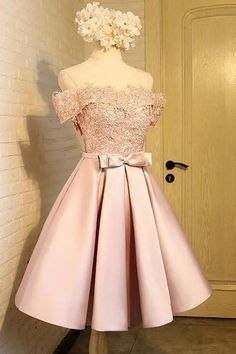 Off The Shoulder Short Prom Dress,Appliques Homecoming Dress Party Dress,SH114 Pink Shorts, Lace Back, Appliques, Dress P, Scoop Neck, Hemline, Cap Sleeves, Homecoming Dresses, Satin