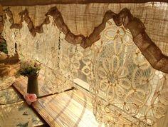 antique lace curtains burlap for rustic homes custom valance curtain shabby chic cream burnt style net Cortinas Shabby Chic, Baños Shabby Chic, Shabby Chic Bedrooms, Shabby Chic Kitchen, Rustic Chic, Burlap Kitchen, Diy Kitchen, Drop Cloth Curtains, Burlap Curtains