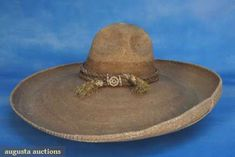 VINTAGE MEXICAN STRAW SOMBRERO, MID 20th C