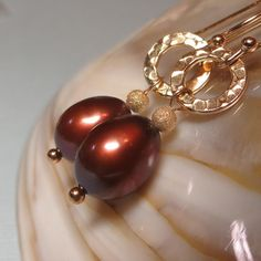 Chocolate Brown Freshwater Pearl Drop Earrings with Hammered Disks    by kauainanidesigns, $32.00