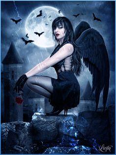 ღ Fallen Angel. Dark Fantasy Art, Dark Gothic Art, Fantasy Kunst, Dark Angels, Angels And Demons, Fallen Angels, Gothic Angel, Gothic Fairy, Vampires
