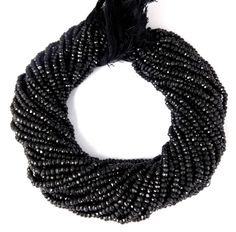 """5 Strand Black Spinel Gemstone Faceted Cut Rondelle Beads 3-3.5mm 13.5"""" Long #Raagarw"""