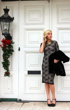 faux fur and lace for a perfect holiday party outfit. Holiday fashion 2013, winter fashion 2014.
