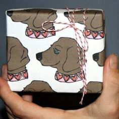 Fun printable gift wrap for the season of love. Wrapping paper and gift tags featuring tree stumps, doxies and hearts.