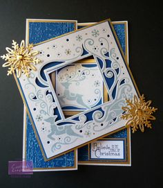 Karen Foy - Front of Christmas Eve Create-a-Card Fold Back Card - Centura Pearl card - Blue Core'dinations - Textures Folder: Distress - Distress Ink - Die'sire Snowflake die - Red Liner Tape and Collall Tacky Glue & 3D Glue Gel - #crafterscompanion #Christmas