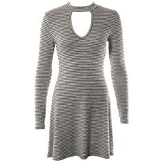 Brushed Knit Stripe Choker Dress Sans Souci ($29) ❤ liked on Polyvore featuring dresses and sans souci