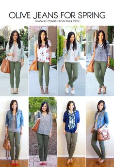 Outfits With Olive Jeans in the Spring