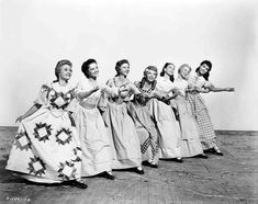 Seven Brides for Seven Brothers!! Full publicity shot of Jane Powell as Milly, Virginia Gibson as Liza, Norma Doggett as Martha, Ruta Lee as Ruth, Betty Carr as Sarah, Nancy Kilgas as Alice and Jule Newmar as Dorcas.