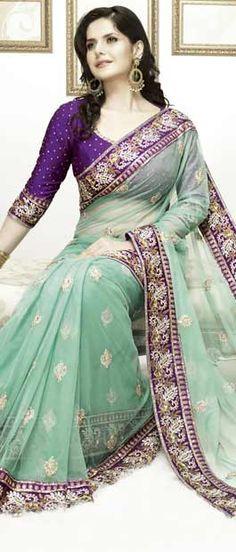 Light Green Net Saree With Blouse