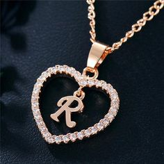 Best Seller Romantic Love Pendant Necklace For Girls 2019 Women Rhinestone Initial Letter Necklace Alphabet Gold Collars Trendy New Charms Girls Necklaces, Metal Necklaces, Jewelry Necklaces, Jewelry Watches, Jewellery, Cute Jewelry, Jewelry Gifts, Letter Charm Necklace, Pendant Necklace