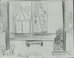 Created by: McCahon, Colin  Title: Stage designs for [The Thieves Carnival, by Jean Anouilh] Act 1.  Date: [ca. 1953]  Location: Hocken Pictorial Collections - 72/109