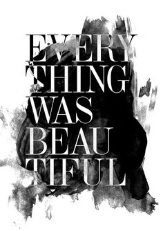 Everything was Beautiful quote poster print, Typography Posters, Home wall decor, Motto, Handwritten, Digital, Giclee, A3 poster via Etsy