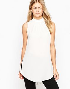 7634b32753d ASOS Sleeveless Longline Tunic Top with Side Splits Tan Shoes, Me Too  Shoes, Asos