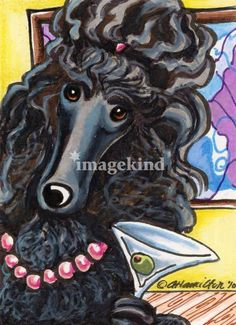 Standard Black Poodle Ready to Mingle by Off-Leash Art