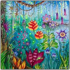 Magical Jungle - Johanna Basford - pagina dupla / pag da esquerda em close pra vc ver melhor os detalhes - material utilizado : aquarelas, colorgel , poscas, aquareláveis  #johannabasford #rpenze #magicaljungle #selvamagica #livrosdecolorirparaadultos #coloringforadults #watercolor