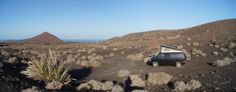 Freedom: campsite with our VW Syncro in the Volcanic Landscape of Lanzarote 2013