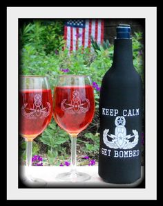 Items similar to EOD - Wine bottle Koozie & Etched Wine Glass Gift Set on Etsy Wine Bottles, Wine Glass, Navy Eod, Military Crafts, Going Away Gifts, Navy Life, Police Patches, Care Packages, Military Life