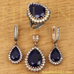 Hurrem Sultan Set Tear Drop Shape Sapphire Color Look Ottoman Silver Jewelry 925 #Unbranded