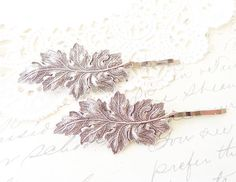 Sterling Silver Plated Leaf Hair Pin Set  Silver Leaf Bobby
