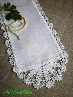 Best 10 Crocheted doily Table Runner Lace doily Organic linens Shabby chic doily Wedding table doily White doily Wedding doily Rustic home decor Natural linens Shabby chic decor White linens Narrow table runner This listing is doily ( x 33 in ) Crochet Lace Doilies, Crochet Doilies, Crochet Lace, Filet Crochet, Lace Table Runners, Crochet Table Runner, Crochet Borders, Crochet Patterns, Doily Wedding