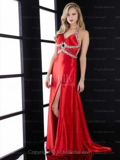 A-line Halter Red Beading Elastic Woven Satin Floor-length Prom Dress