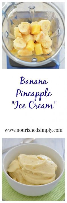 "Banana Pineapples ""ice cream' is a nice cream made with just 2 ingredients. Non-dairy, gluten free, vegan dessert."