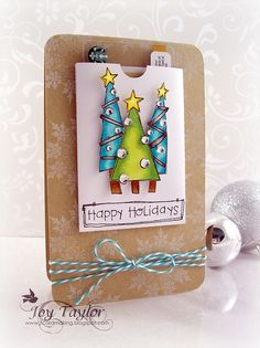 Love the pop dotted GC holder on front and the stamped image with twine at the bottom!