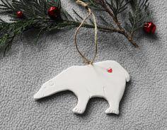 Handmade porcelain Polar Bear Ornament, Porcelain Ornament, Christmas Ornament, Christmas Tree decoration - pinned by pin4etsy.com