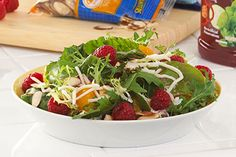 Fruit & Almond Salad recipe - Escape from the ordinary: Mandarin oranges and fresh raspberries add a bright and refreshing twist to salad greens, with sliced almonds providing a fun crunch. Kraft Foods, Kraft Recipes, Ww Recipes, Cooking Recipes, Healthy Recipes, Delicious Recipes, Brunch Recipes, Watermelon Salad Recipes, Side Salad Recipes